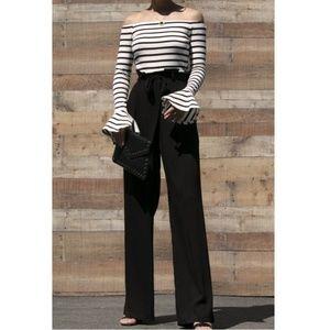 Pants - Stripe Off Shoulder Bell Sleeve Wide Leg Jumpsuit